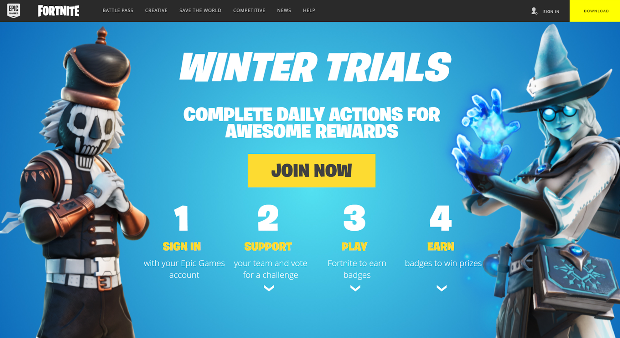 Fortnite Winter Trials Landing Page